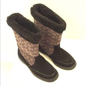 Coach Sherman Signature Boots Black Size 6